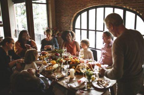 Multicultural family Thanksgiving dinner